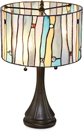 Serena D italia Tiffany Style Table Lamps Contemporary, Mosaic Stained Glass Lamp, Antique, Victorian, Vintage Styling, Double Pull Chain Blue, White, Yellow