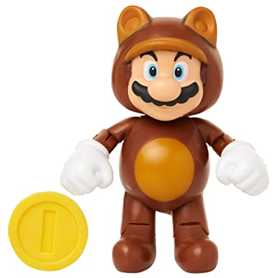 "World of Nintendo 91436 4"" Tanooki Mario with Coin Action Figure: Toys & Games"