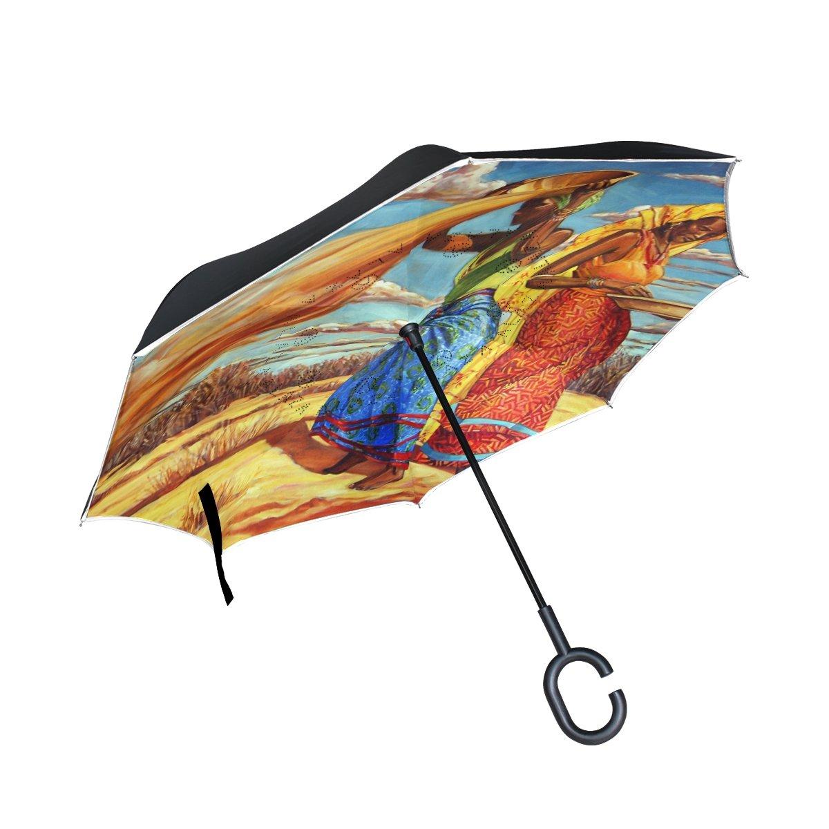 MUMIMI - Paraguas invertido para Mujer, Doble Capa, Resistente al Viento, protección UV, Paraguas invertido, Plegable, Paraguas de Viaje, Paraguas invertido ...