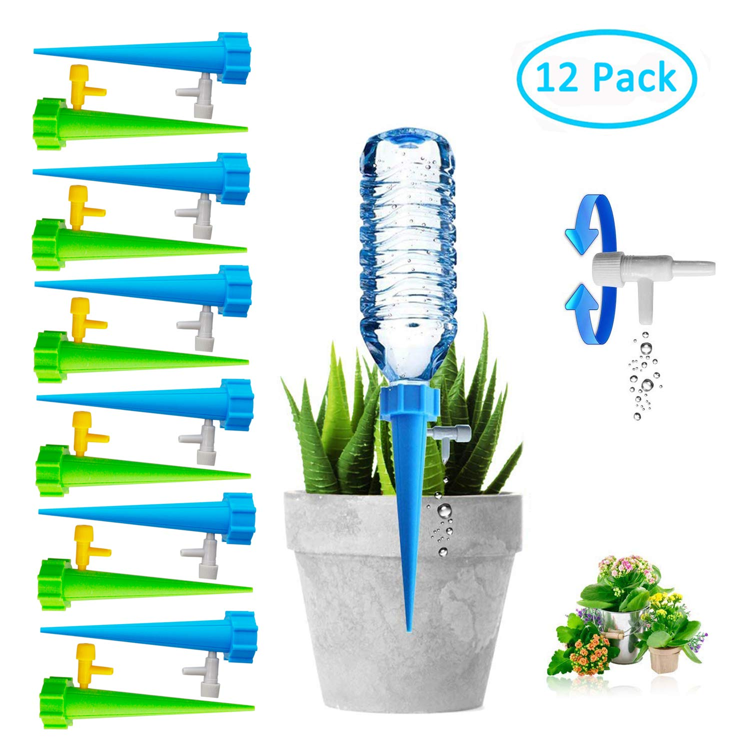 Plant Self Watering Spikes Bulbs Globes Stakes System,Vacation Plant Waterer Nannies Pot Self Drip Irrigation Slow Release Devices Care Your Indoor & Outdoor Home and Office Plants (12pack)