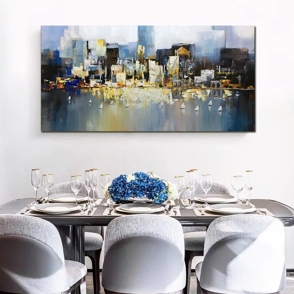 Metuu Modern Canvas Paintings, City Lights Up - Texture Palette Knife Paintings Modern Home Decor Wall Art Painting Wood Inside Framed Ready to hang 24x48inch by Metuu (Image #5)