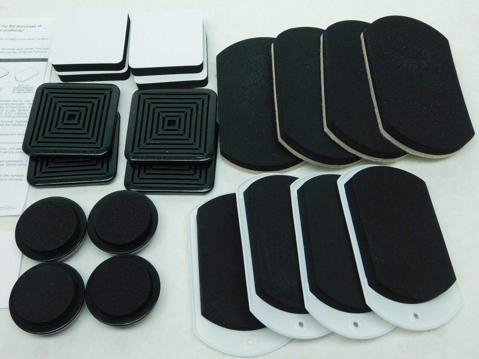 16 pcs Set Furniture Sliders Pads Movers Carpet Hard Wood Ceramic Floors Glide Heavy Easy Moves Foam and Felt Square Round Permanent Slides Adhesive Discs for EZ Movers