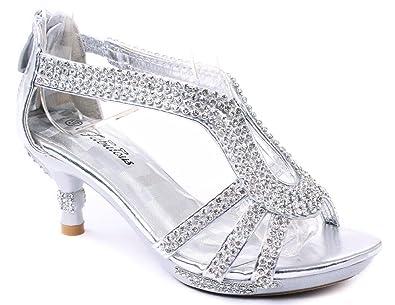 f679ccc0914 JJF Shoes Glamour-36 Kids Silver Classy Sparkling Sweet Heart Rhinestone  Heel Dress Sandals-