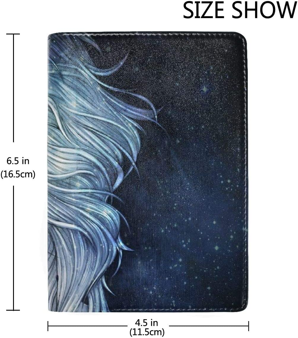 Purple Hair Girl Face Galaxy Blue Stars Fashion Leather Passport Holder Cover Case Travel Wallet 6.5 In
