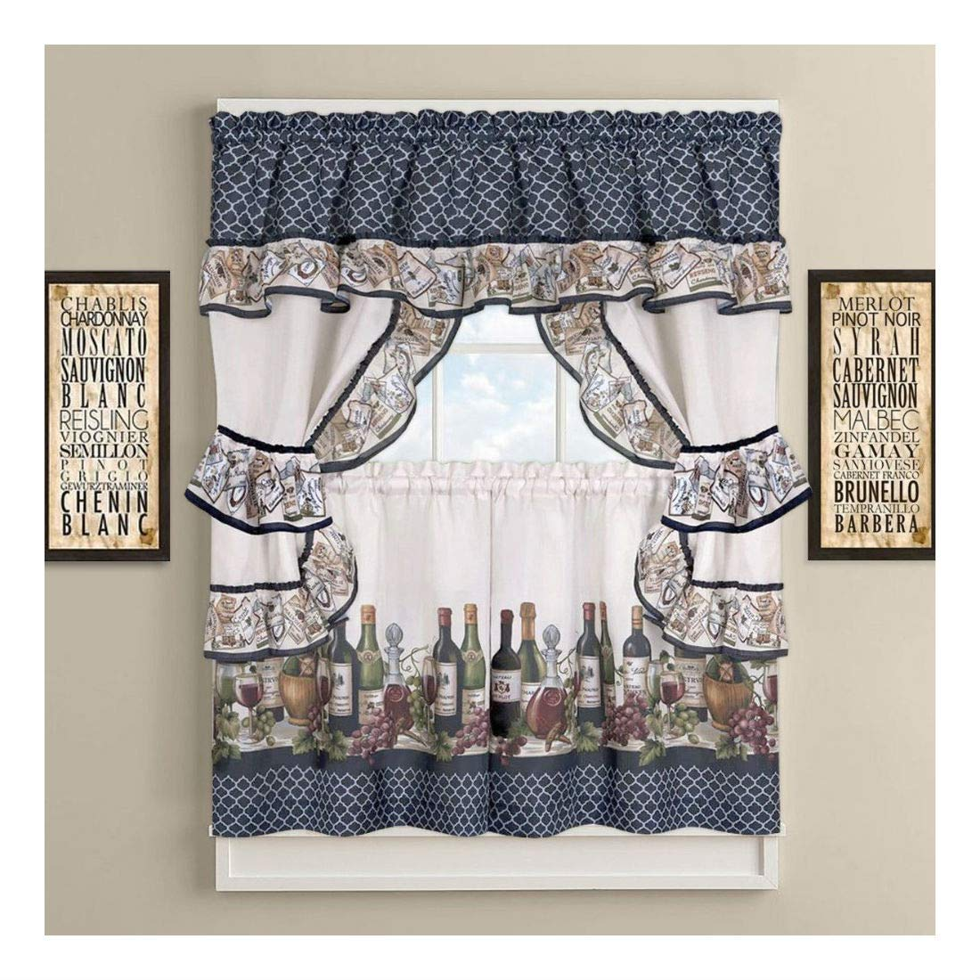 36 in. French Chateau Complete Cottage Kitchen Curtain Set