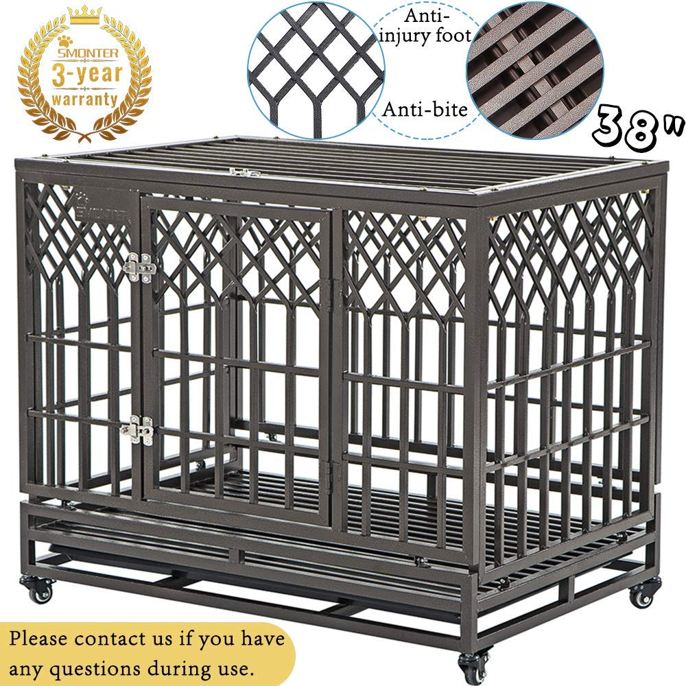 SMONTER 38'' Heavy Duty Strong Metal Dog Cage Pet Kennel Crate Playpen with Wheels, Y Shape, Brown by SMONTER