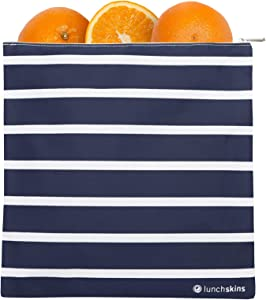 LunchSkins Reusable Zippered Gallon, Food Bag, Storage, Navy Stripe