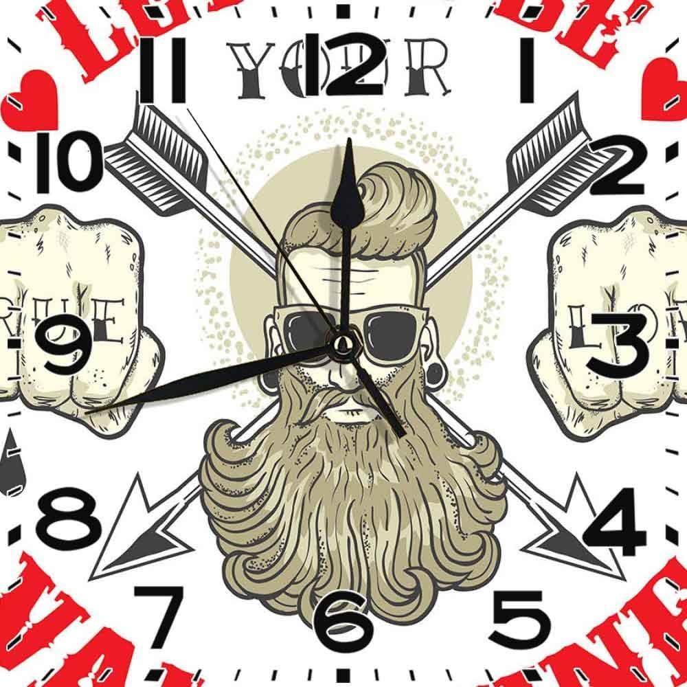 jifyasuo Reloj Cuadrado Amor Verdadero Déjame ser Tus Mensajes de San Valentín con Barba Retrato de Hombre Vermilion Crema Cáscara de Huevo Silencioso Decoración de Oficina en casa Reloj