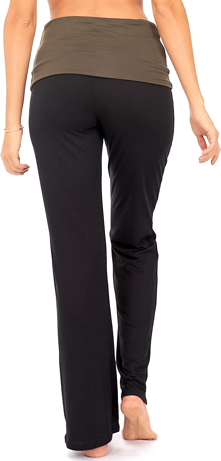 DEAR SPARKLE Fold Over Yoga Lounge Stretch Pants Women P8 Contrasting High Waist Loose Pregnancy Pant Plus