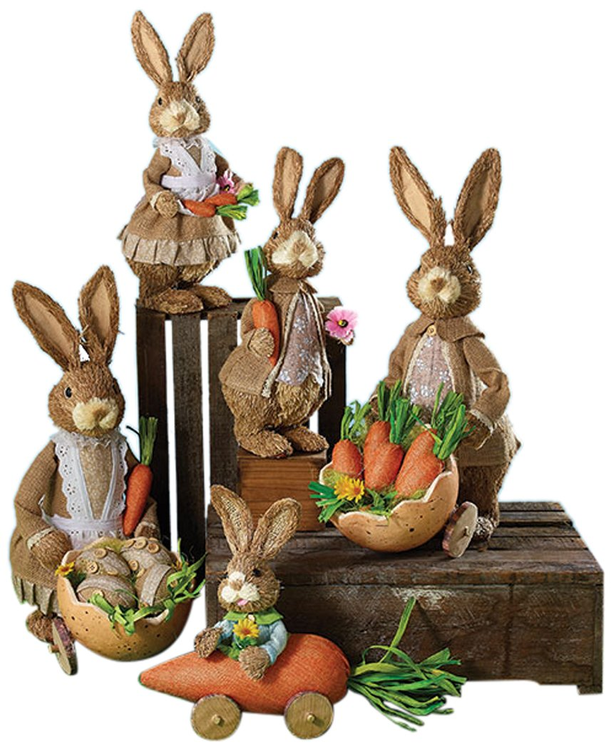 Burton & Burton Decor 5 Pc Sisal Bunny Family Childrens Party
