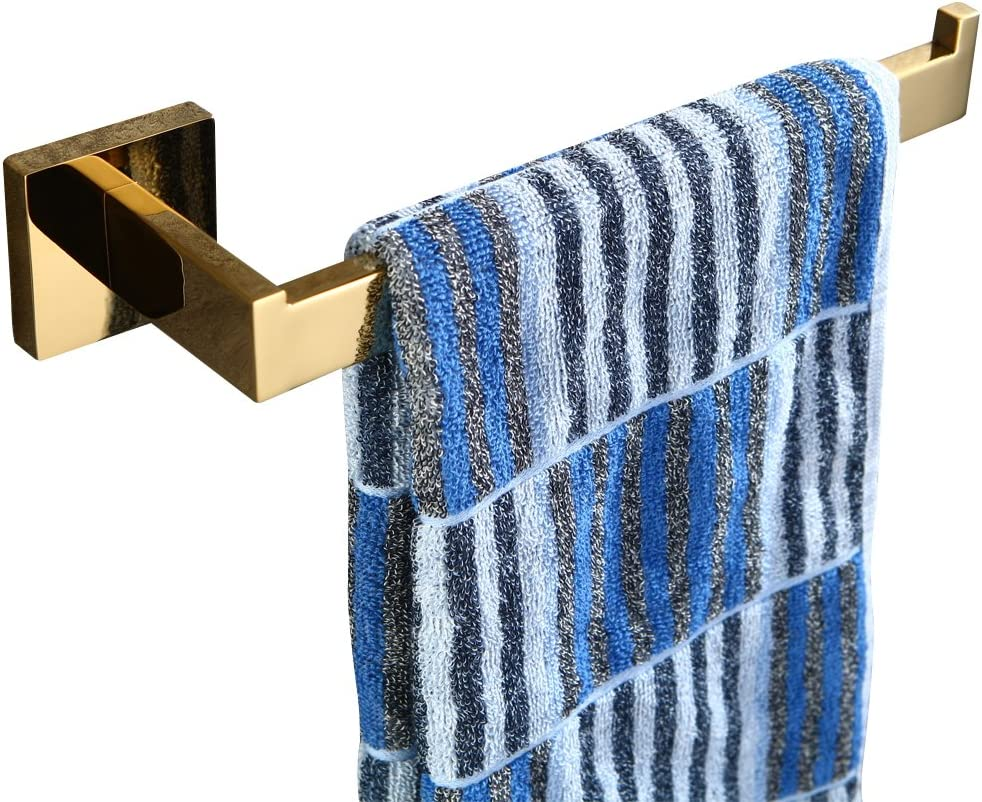 All Stainless Steel Construction Luxury Style for Bathroom Wall Mounted L60cm WINCASE Gold Single Towel Bar Towel Holder Rail