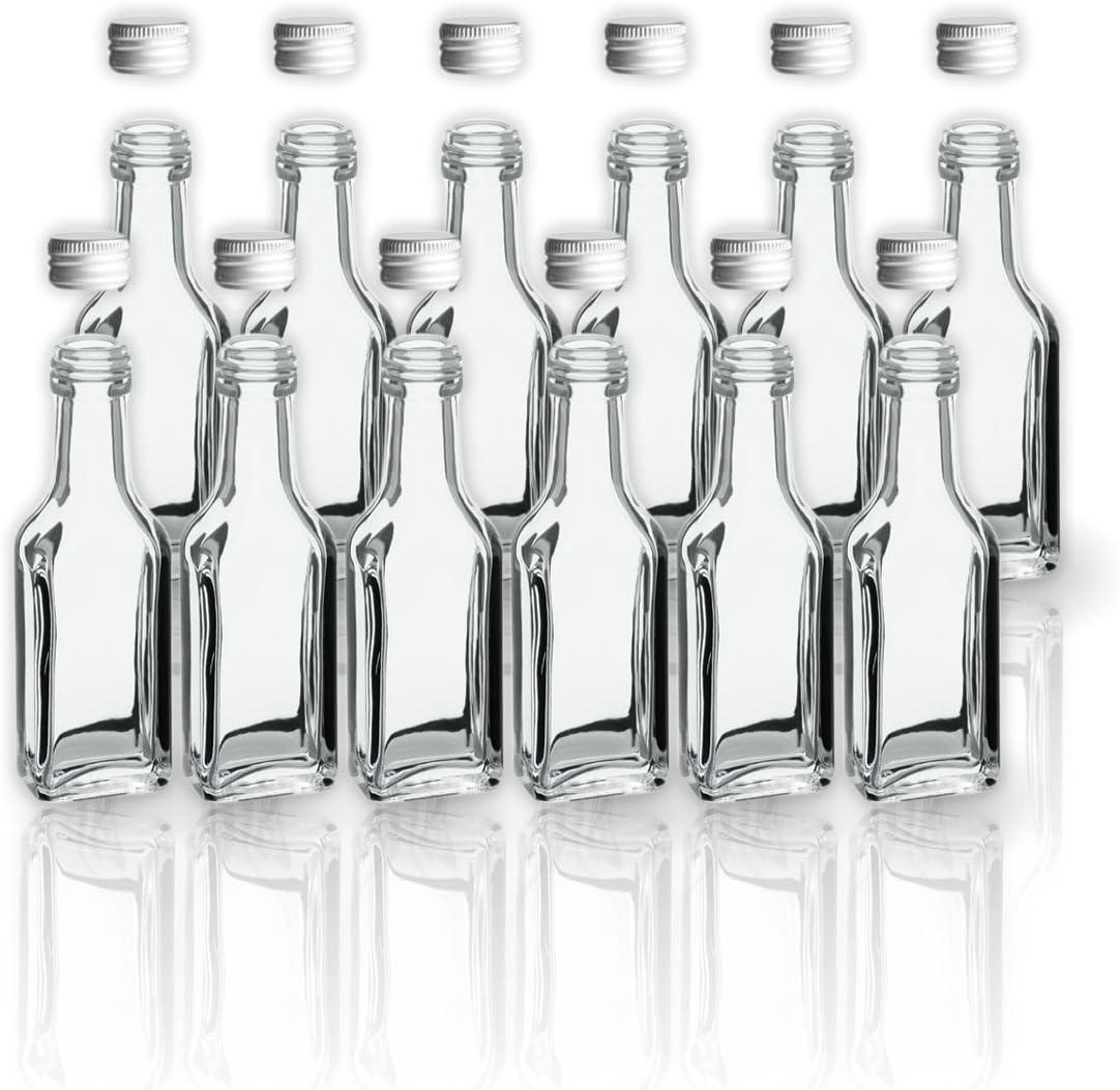 12 botellas de cristal (20 ml con tapa de rosca/2 cl vacías Botellas de cristal para llenarlos/SLK Sample botellas para aceite, Whisky Whisky, Rum, ...