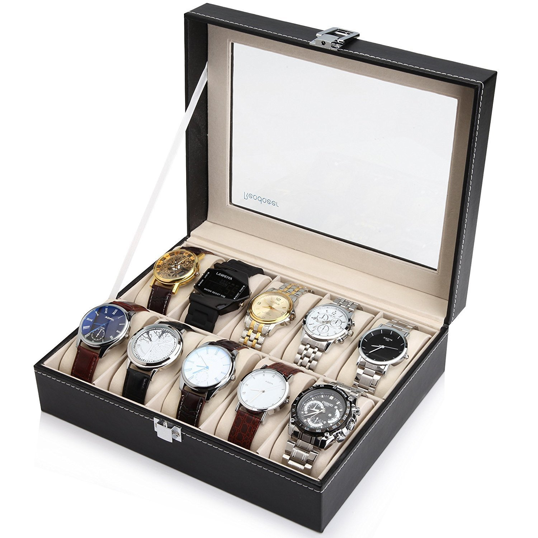Readaeer Glass Top 10 Watch Black Leather Box Case Display Organizer Storage Tray for Men & Women