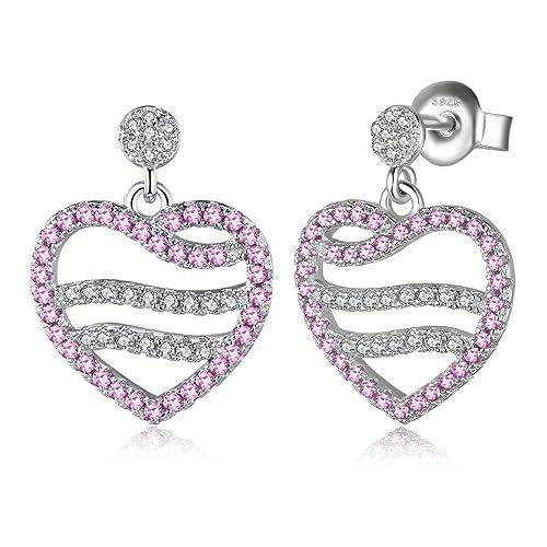 271c3678d0f4 JewelryPalace Pendientes Aretes Corazón Con Creado Zafiro Rosa Plata de ley  925  Amazon.es  Joyería