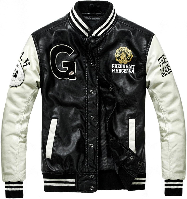Vazpue Suits Bomber Leather Jacket College Style Jaqueta Couro Mens PU Leather Jacket Street Skate Jacket Autumn Winter Coat