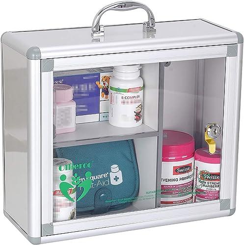 Ollieroo Portable Wall Medicine Cabinet Box Lock Medication Box