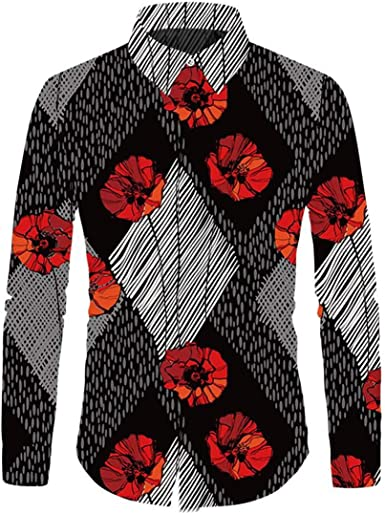 HURVXDWAQ - Camisa de Boda para Hombre, diseño Floral de ...