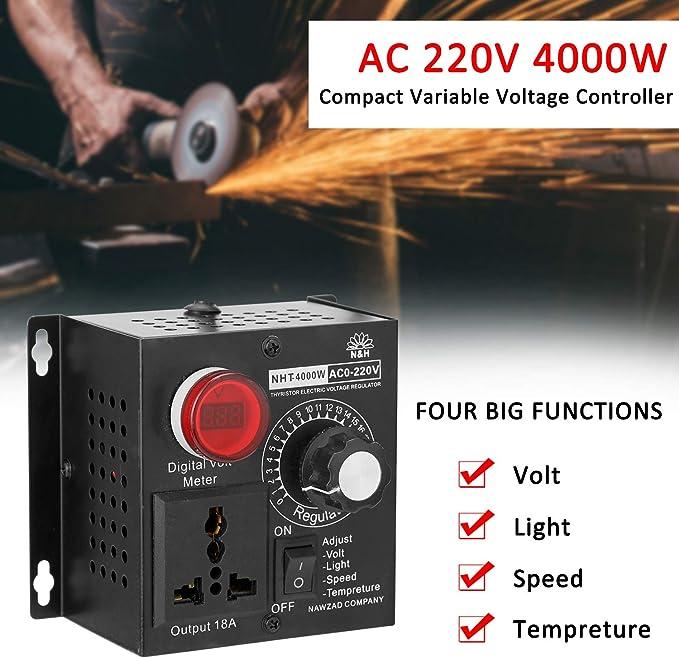 Ajcoflt AC 220V 4000W Contr/ôleur Variable De Tension Contr/ôleur Portable Vitesse Temp/érature L/éger Tension Variateur Adjuatable