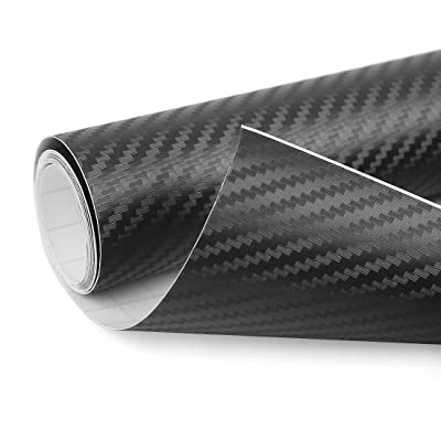 uxcell 3D Carbon Fiber Bubble Free Stretchable Car Vinyl Film Sticker 300 x 50cm Black: Automotive