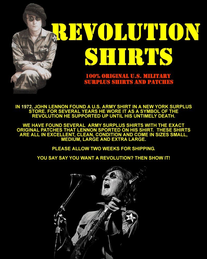 JOHN LENNON STYLE REVOLUTION US ARMY SHIRT JACKET VIETNAM THE BEATLES HALLOWEEN COSTUME by Hollywoodprop