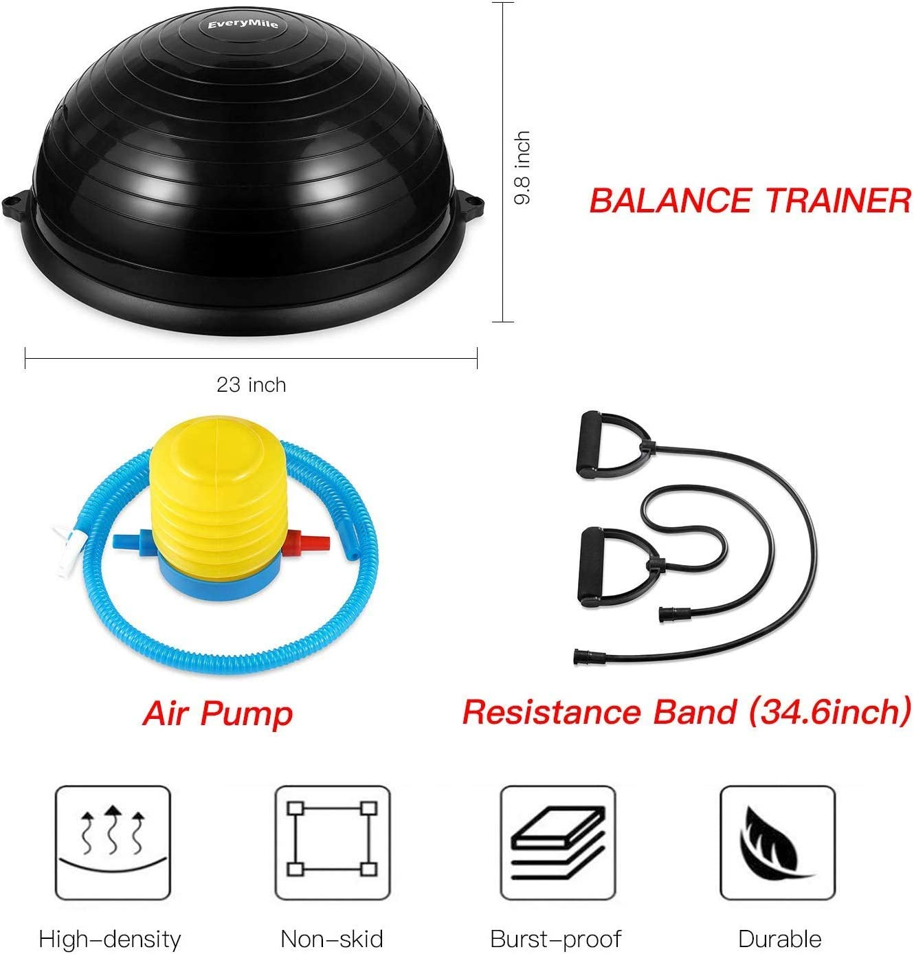 EveryMile Half Ball Balance Trainer Balance Ball Stability Yoga Exercise Ball with Resistance Bands /& Pump for Home Gym Core Training Ab Strength Workouts Yoga Fitness 23 inch Anti-Skid Surface