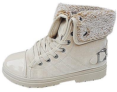 dcf9fb95d706d fashionfolie Femme Baskets Montantes Bottines Fourrure Fille Boots Mode  FOURRÉE Chaud Beige K-37 (