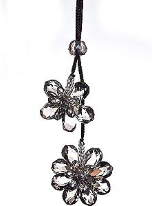 yuncai Crystal Flower Hanging Ornament Decor Drops Car Rear View Mirror Pendant Car Decorations Accessories(Grey)