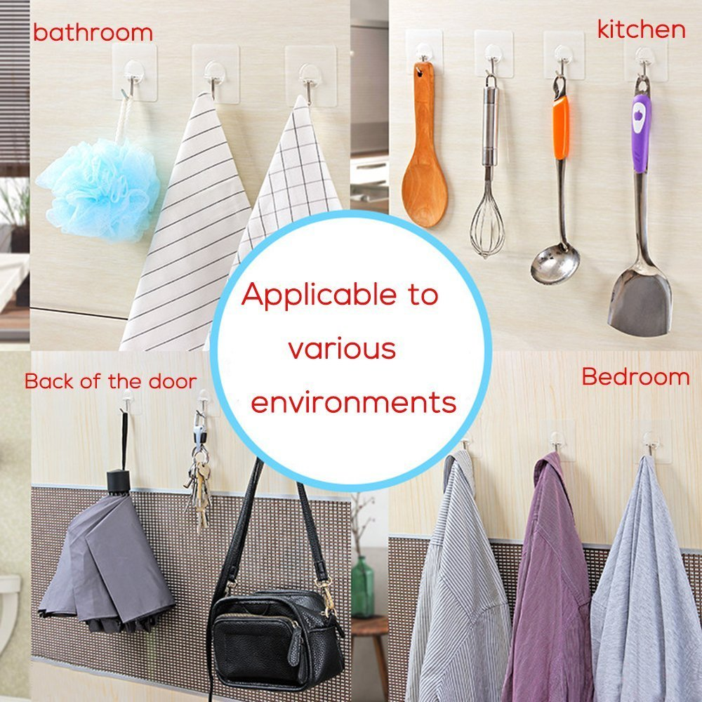Rocita 12Pcs Adhesive Wall Hooks Nail Free Sticky Hooks Transparent Heavy Duty No Scratch & Oilproof Stainless Steel Hooks for Kitchen Bathroom Wall