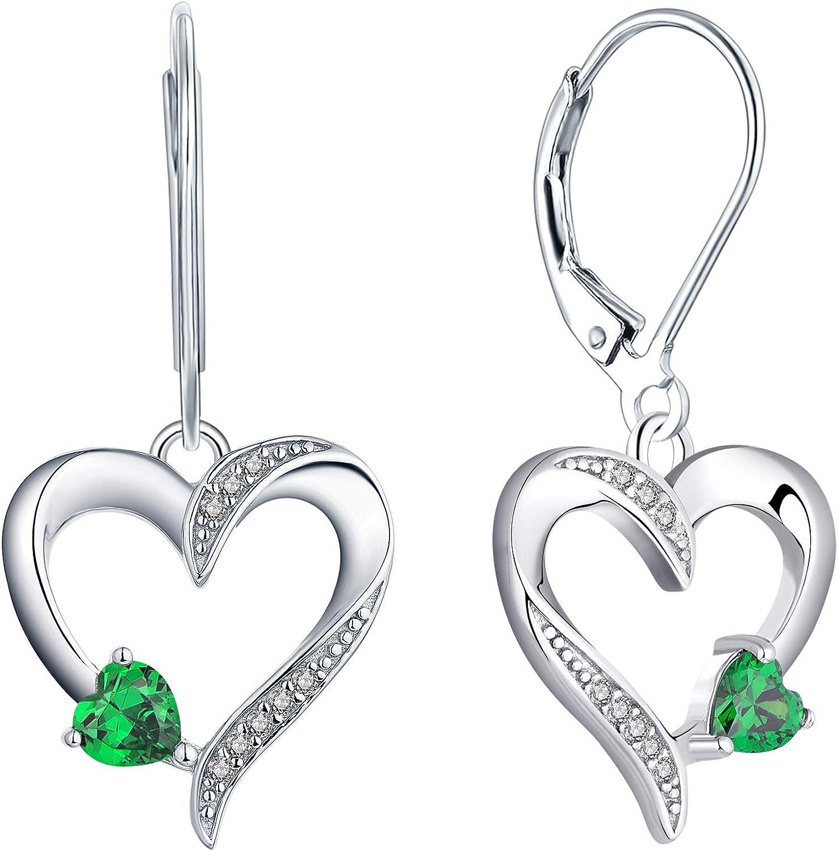 YL Pendientes de corazón Pendientes colgantes de plata 925 con corazones de amor Zafiro azul/Esmeralda simulada/Amatista Pendientes colgantes para damas y niñas