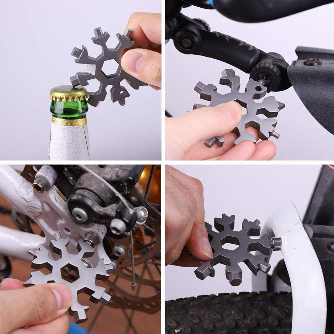 Multifunction Snowflake Screwdriver Tool 18-in-1 Portable Stainless Steel Combination Hand Tool for Bike Outdoor Adventure