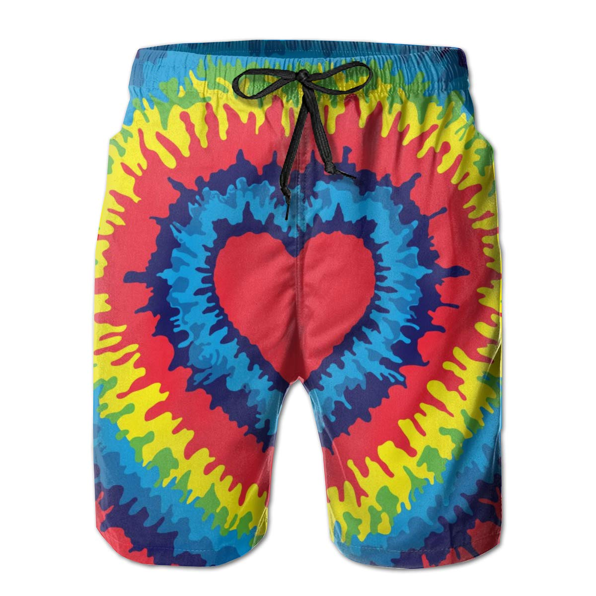 TNIJWMG Mens Board Shorts Colorful Tie Dye Holiday Swim Trunks Mesh Lining