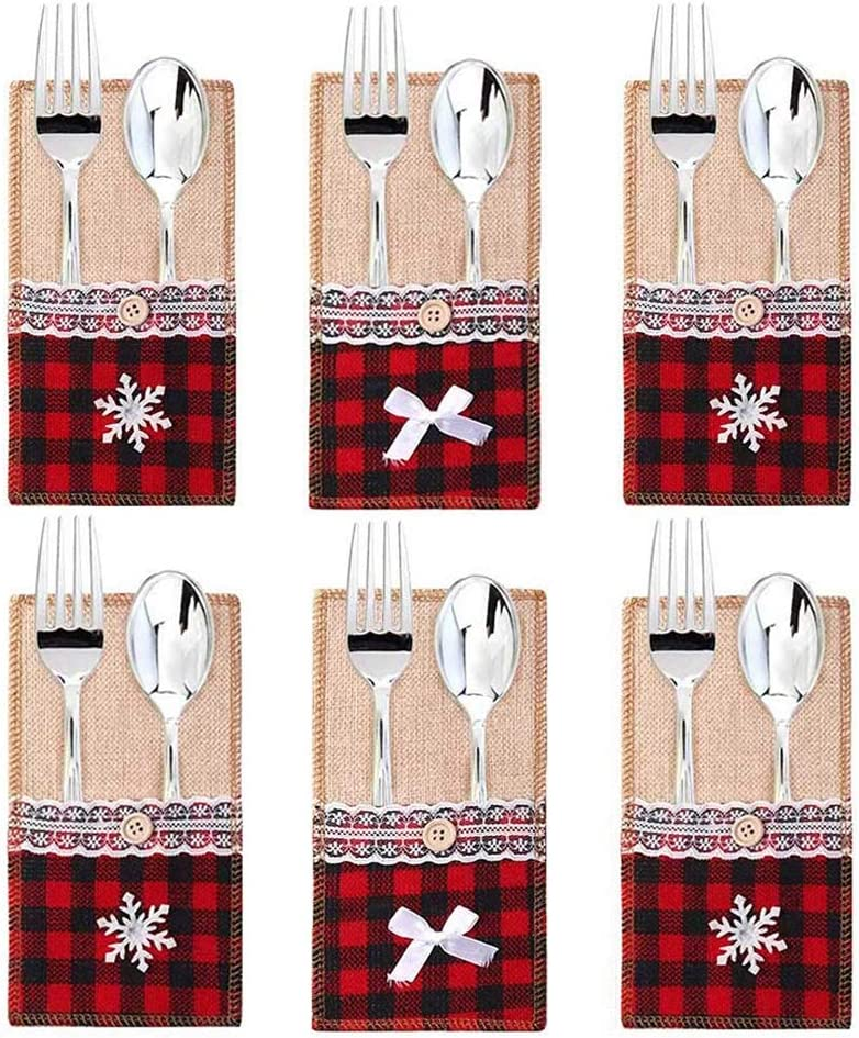 DegGod 6Pcs Christmas Tableware Silverware Holders Set, Natural Burlap Red Plaid Knife and Fork Bags Covers for Thanksgiving New Year Party Decorations Xmas Dinner Table Decor Ornaments (Red Plaid)