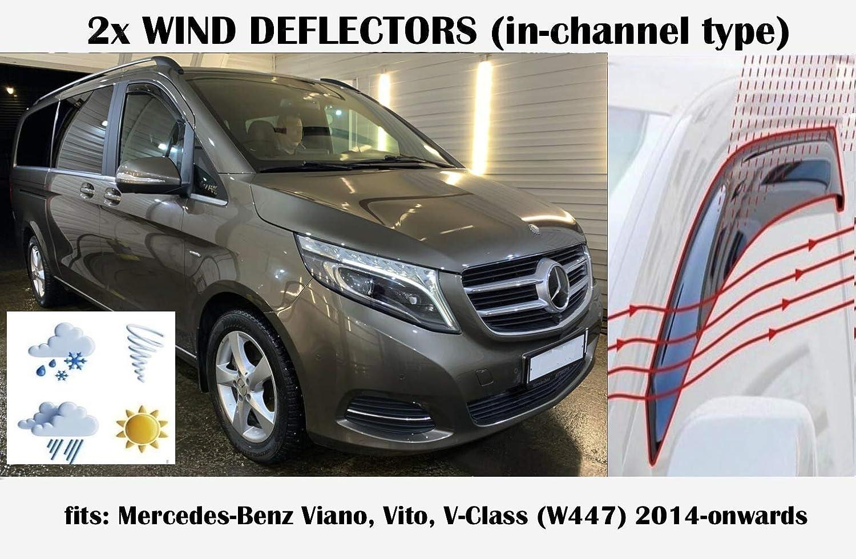 Set di 2 deflettori daria Compatibile con Mercedes Benz VITO VIANO Classe V W447 Deflettori 2014 2015 2016 2017 2018 2019 2020 Visiere laterali acrilico