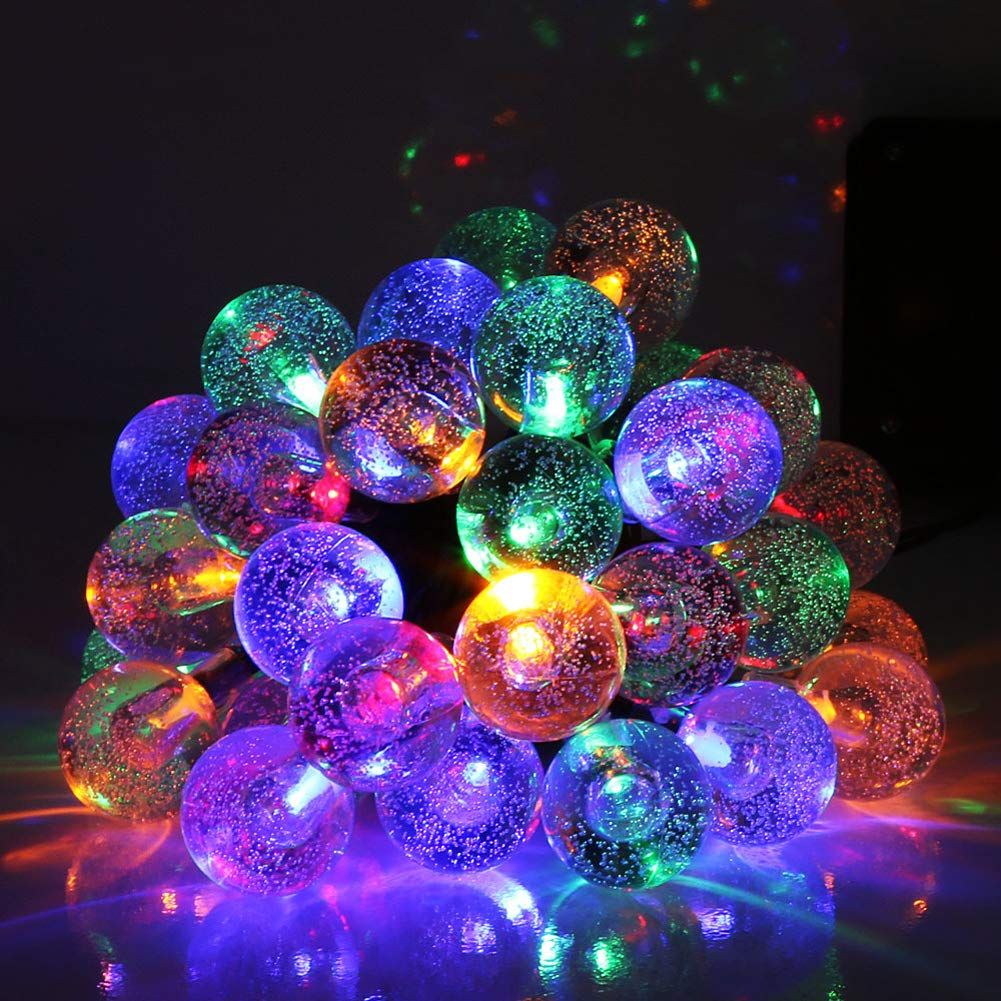 THWJSH Solar Lights Garden, 30 LED Outdoor String Lights, Multi-Coloured Crystal Ball Fairy Lights, for Garden/Patio/Yard/Christmas by THWJSH