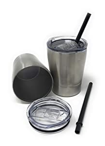 UpPeak 8.5 oz. Stainless Steel Cups with Clear Lids and Plastic Straws, 2 Pack, Double Walled Insulated for Hot and Cold Drinks, Travel Tumblers for Coffee, Cold Brew, Water or Smoothies