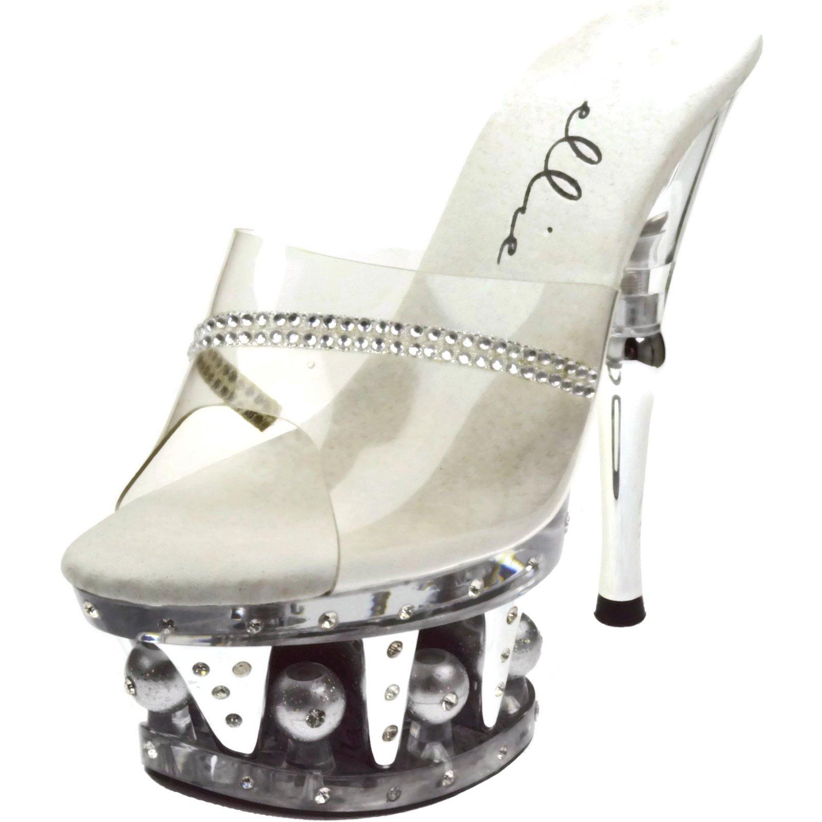 Ellie Shoes Jesse 6 Inch Heel Clear Rhinestone Slip On Mule (Clear;10)