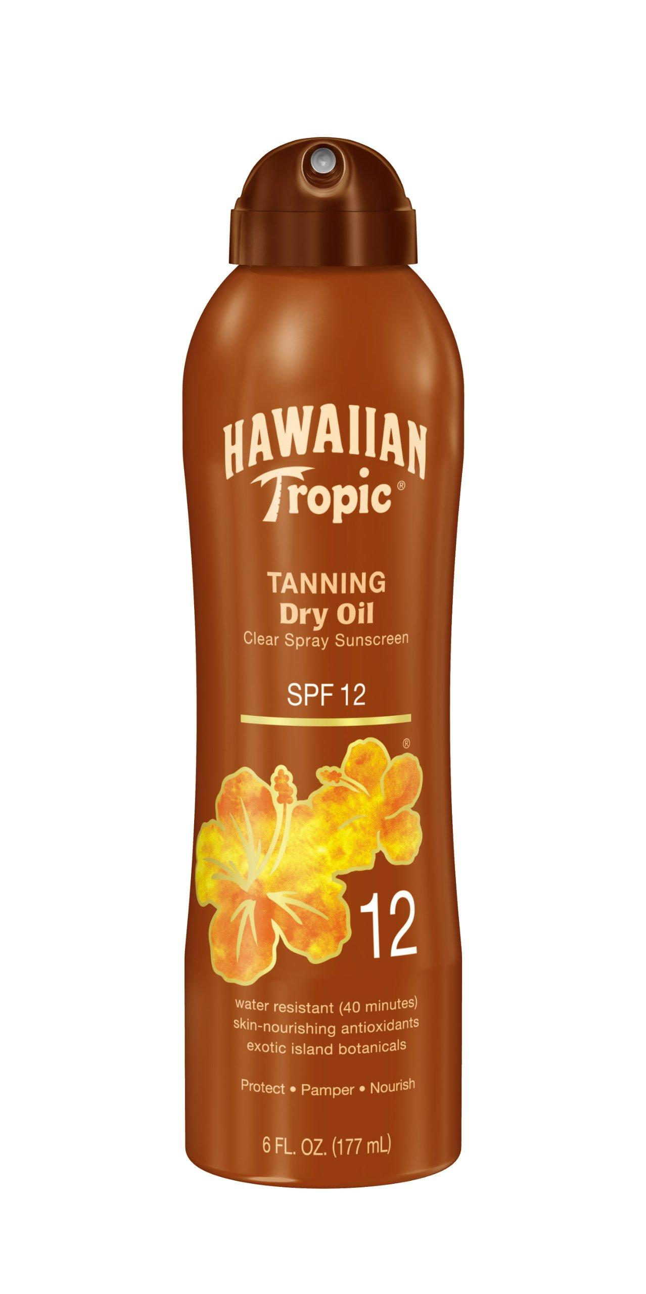 Hawaiian Tropic Tanning Dry Oil Clear Spray Sunscreen SPF 12 6 oz (Pack of 3) by Hawaiian Tropic