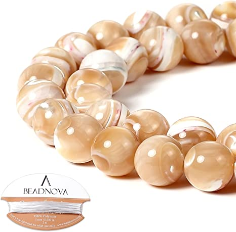 Natural 12mm Round Mother Of Pearl Shell Beads /& Black Silicone Rubber Stretch Necklace Bracelet Set