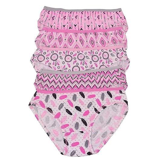 Amazon.com  1000% Cute Little Girls Pink Feather Print Cotton 5 Pc ... f0f4c2df4