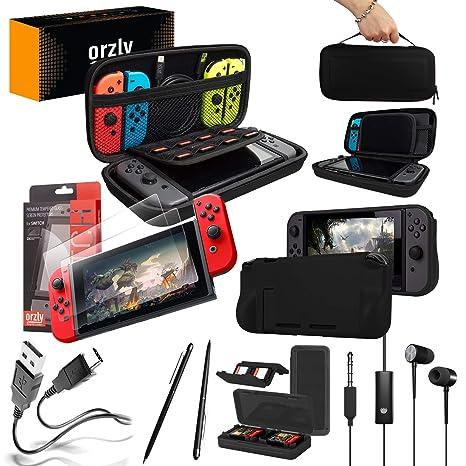Orzly Pack Esencial de Accesorios para Nintendo Switch [Incluye: Protectores de Pantalla, Cable USB, Funda para Consola, Estuche Tarjetas de Juego, ...