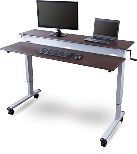 Stand Up Desk Store Crank Adjustable Sit to Stand Up Computer Desk Heavy Duty Steel Frame
