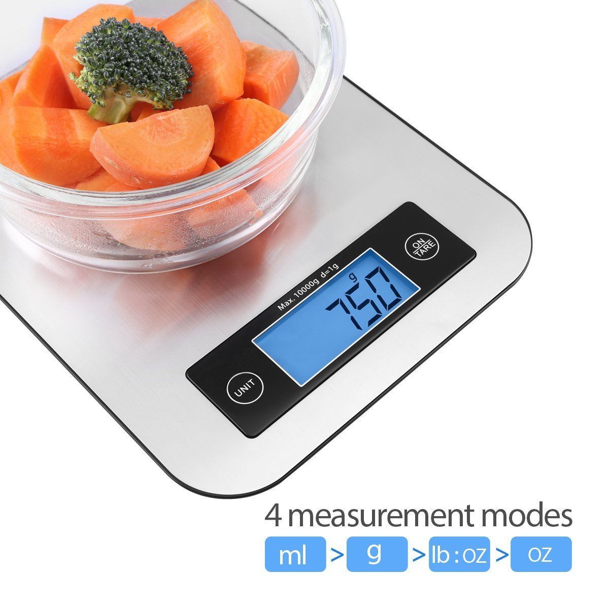 Digital Kitchen Food Scale, TOBOX Small Cooking Scale with Stainless Steel Panel and Blue LED Display Screen, Fast Unit Switching Kitchen Weighing Scale, Easy to Clean Holds Up to 11 Ibs/5 Kg
