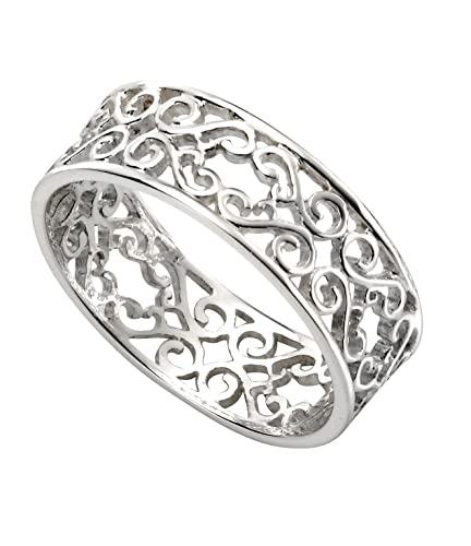 986ddd0edf7a0 Sterling Silver 6mm filigree Band Ring Size K - S - British Made ...