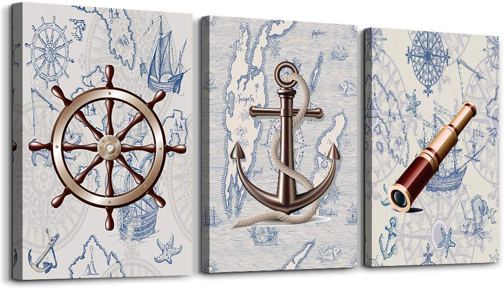 ocean theme steering wheel telescope ship pendant Canvas Prints bathroom Wall Art for Bedroom Wall decor Artworks Pictures wall decorations for living room,3 piece Home decor kitchen wall paintings