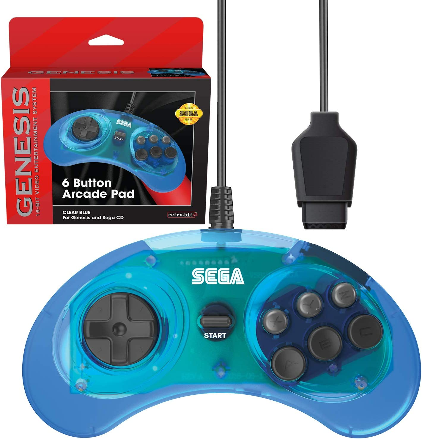 Retro Bit Official Sega Genesis Controller 6 Button Arcade Pad For Sega Genesis   Original Port    Clear Blue by By          Retro Bit