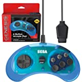 Retro-Bit Official Sega Genesis Controller 6-Button Arcade Pad for Sega Genesis - Original Port  - Clear Blue