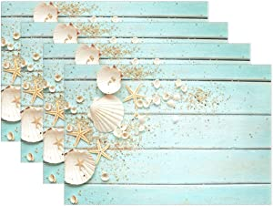 Wamika Sea Shell Beach Placemat Set of 6 Table Mat, Summer Starfish Board Table Mats Placemats Non Slip Stain Heat Resistant 12x18 in for Dining Home Kitchen Decor Indoor