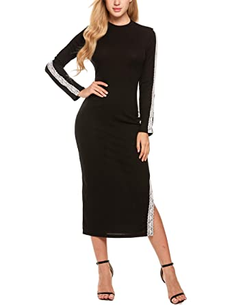 3fde38f67f28 Zeagoo Pullover Sweater Dress Teenager Cocktail Party Dress Solid Crewneck  Knitted Dress, Black,Small