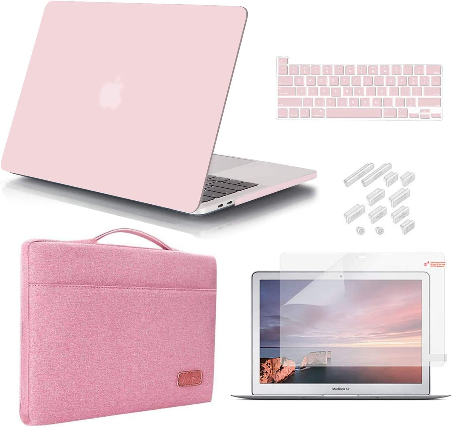 iCasso MacBook Pro 13 Inch Case 2020 Release Model A2251/A2289 Bundle 5 in 1, Hard Plastic Case, Sleeve, Screen Protector, Keyboard Cover & Dust Plug Compatible MacBook Pro 13'' (Rose Quartz)