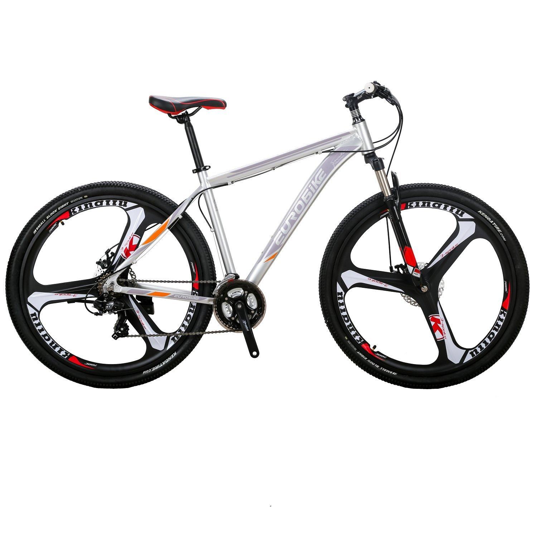 EUROBIKE X9アルミニウム合金フレーム 29 マウンテン 21速 変速 マウンテンバイク 前後ディスクブレーキ 3つのスポークのラウンド 通学 自転車 通勤自転車 B078S1KDNT銀色